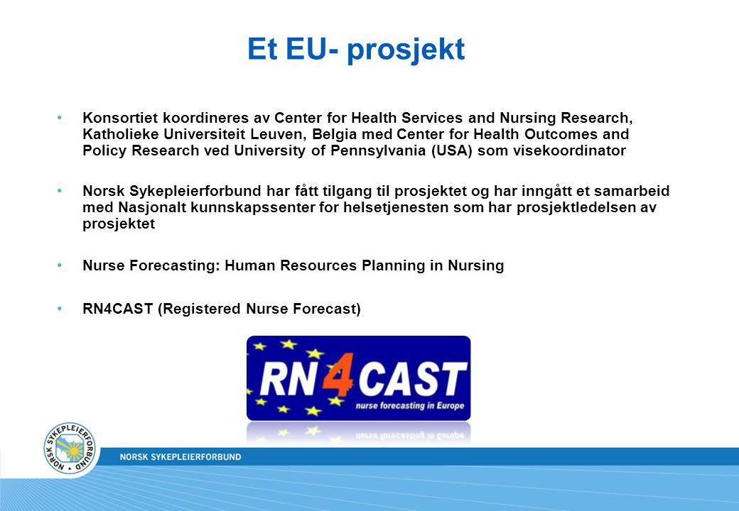 Et EU- prosjekt Konsortiet koordineres av Center for Health Services and Nursing Research, Katholieke Universiteit Leuven, Belgia med Center for Healt