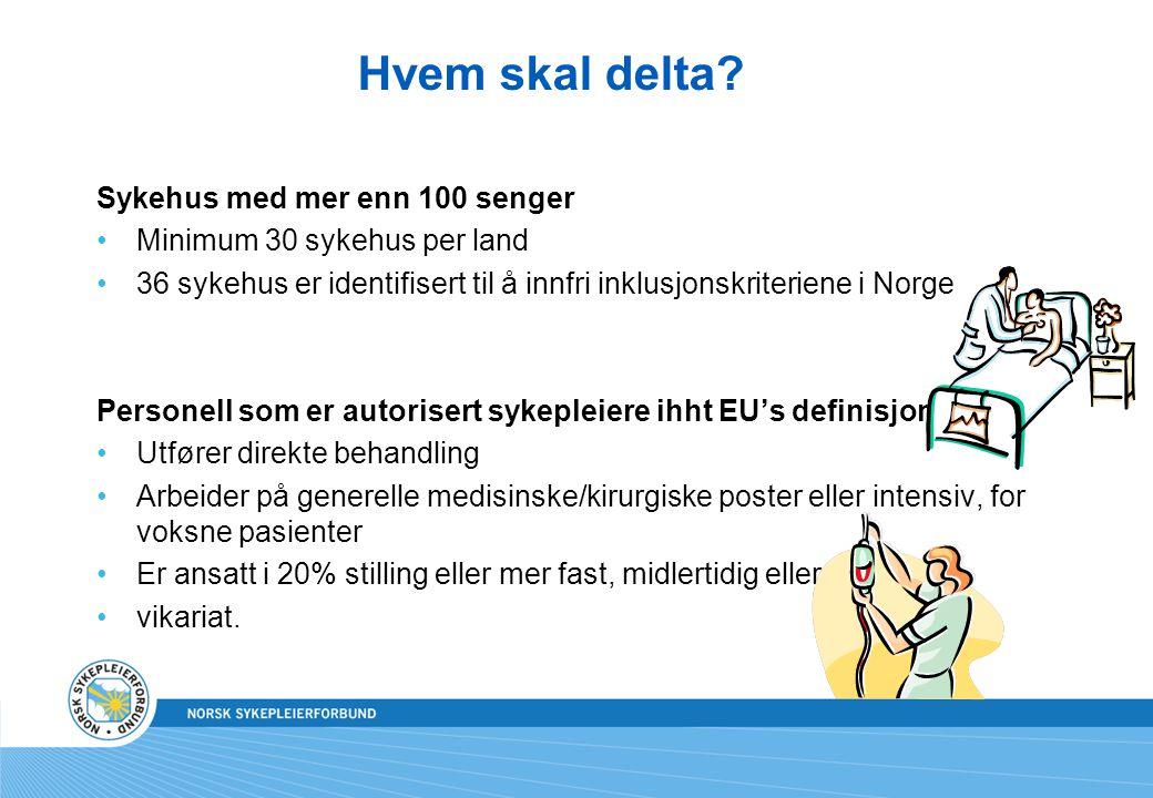 Hvem skal delta? Sykehus med mer enn 100 senger Minimum 30 sykehus per land 36 sykehus er identifisert til å innfri inklusjonskriteriene i Norge Perso