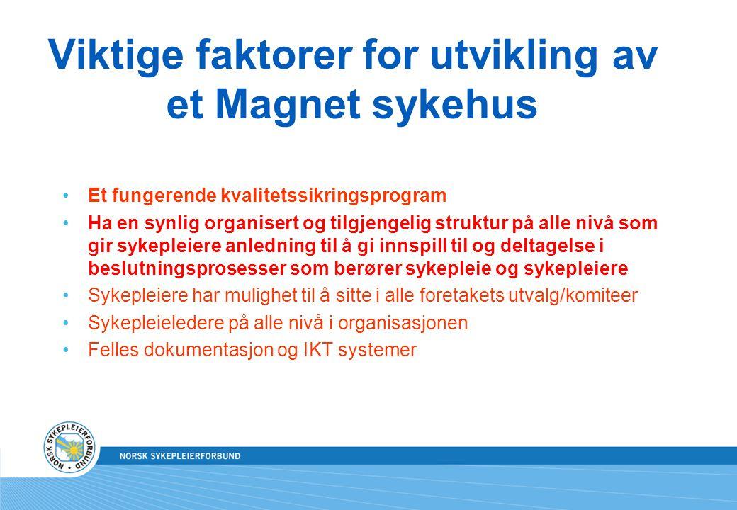 Viktige faktorer for utvikling av et Magnet sykehus Et fungerende kvalitetssikringsprogram Ha en synlig organisert og tilgjengelig struktur på alle ni