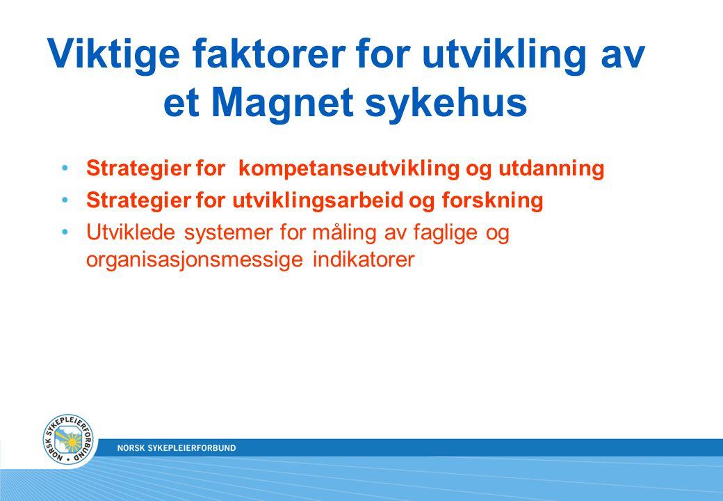 Viktige faktorer for utvikling av et Magnet sykehus Strategier for kompetanseutvikling og utdanning Strategier for utviklingsarbeid og forskning Utvik