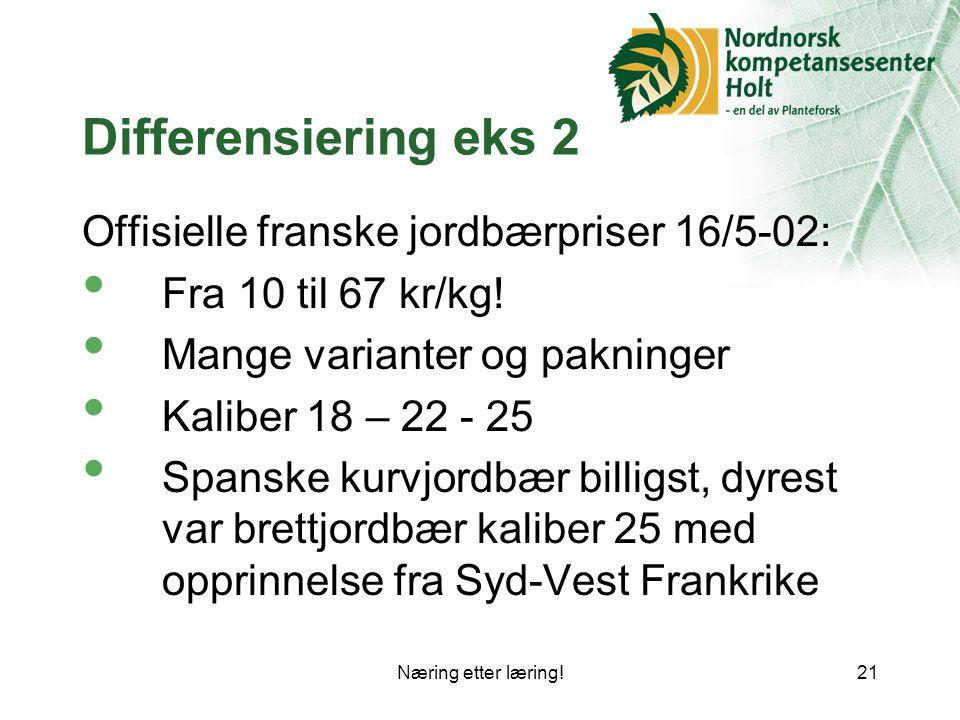 Næring etter læring!21 Differensiering eks 2 Offisielle franske jordbærpriser 16/5-02: Fra 10 til 67 kr/kg.