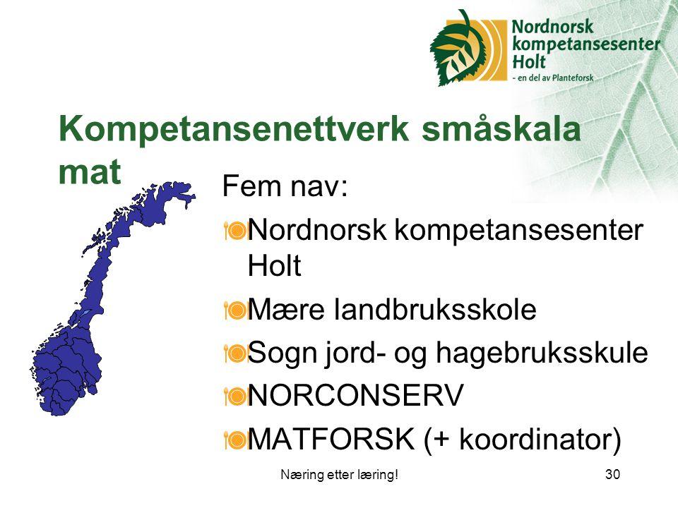 Næring etter læring!30 Kompetansenettverk småskala mat Fem nav:  Nordnorsk kompetansesenter Holt  Mære landbruksskole  Sogn jord- og hagebruksskule  NORCONSERV  MATFORSK (+ koordinator)