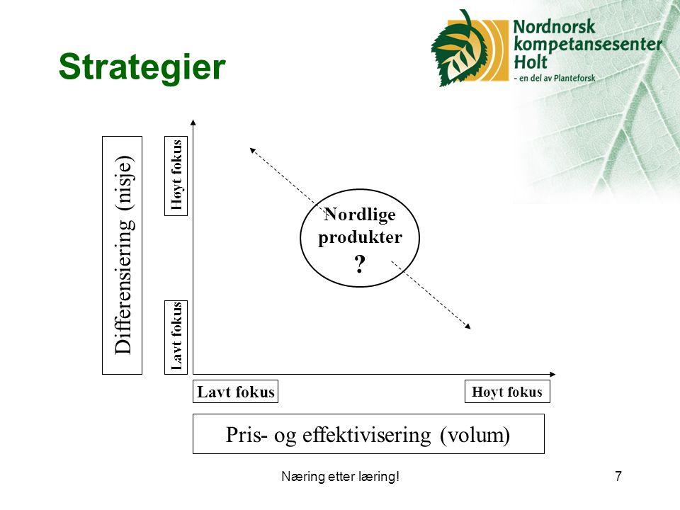 Næring etter læring!7 Strategier Pris- og effektivisering (volum) Lavt fokus Høyt fokus Differensiering (nisje) Lavt fokus Høyt fokus Nordlige produkter ?