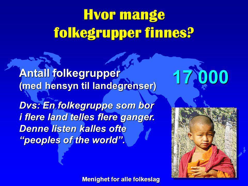 Hvor mange folkegrupper finnes? Antall folkegrupper (med hensyn til landegrenser) Dvs: En folkegruppe som bor i flere land telles flere ganger. Denne