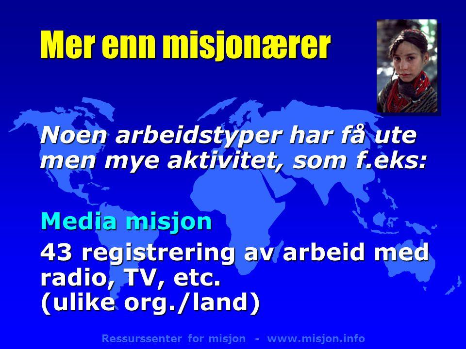 Ressurssenter for misjon - www.misjon.info Mer enn misjonærer Noen arbeidstyper har få ute men mye aktivitet, som f.eks: Media misjon 43 registrering av arbeid med radio, TV, etc.
