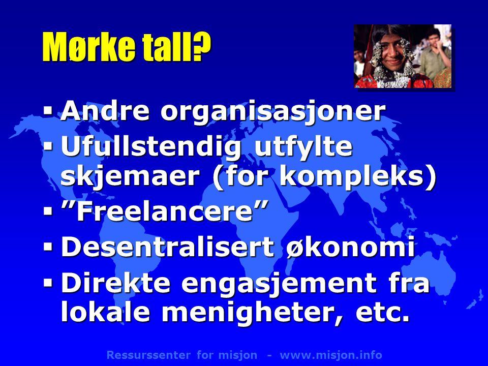 Ressurssenter for misjon - www.misjon.info Mørke tall.