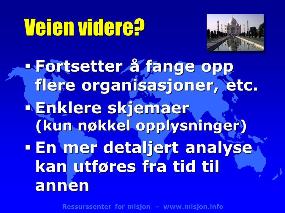 Ressurssenter for misjon - www.misjon.info Veien videre.