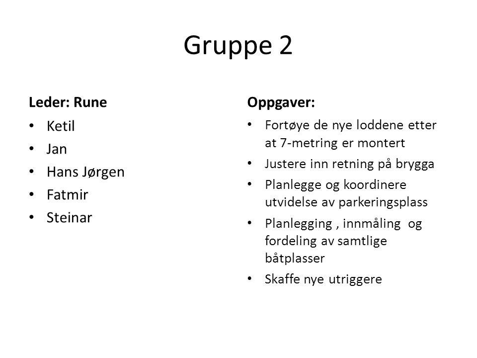 Gruppe 2 Leder: Rune Ketil Jan Hans Jørgen Fatmir Steinar Oppgaver: Fortøye de nye loddene etter at 7-metring er montert Justere inn retning på brygga