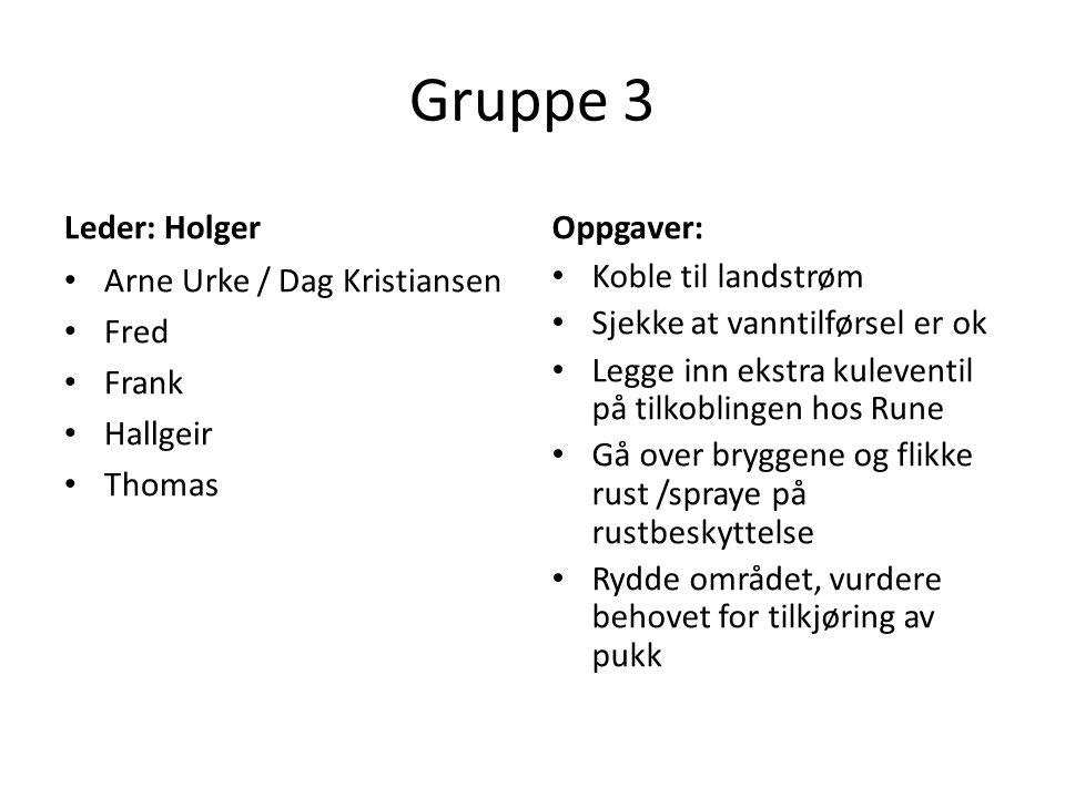 Gruppe 3 Leder: Holger Arne Urke / Dag Kristiansen Fred Frank Hallgeir Thomas Oppgaver: Koble til landstrøm Sjekke at vanntilførsel er ok Legge inn ek