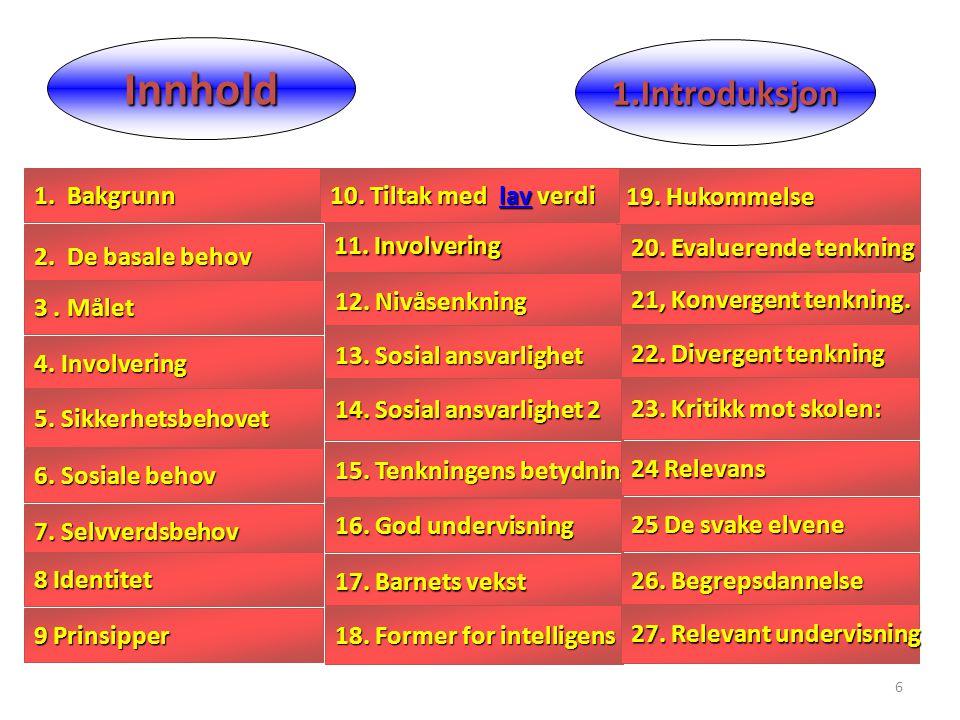 6 Innhold 7. Selvverdsbehov 7. Selvverdsbehov 16. God undervisning 16. God undervisning 2. De basale behov 2. De basale behov 8 Identitet 8 Identitet