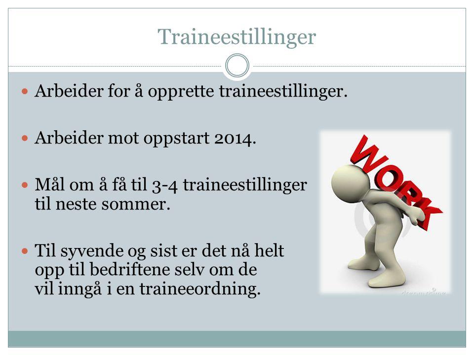 Traineestillinger Arbeider for å opprette traineestillinger.
