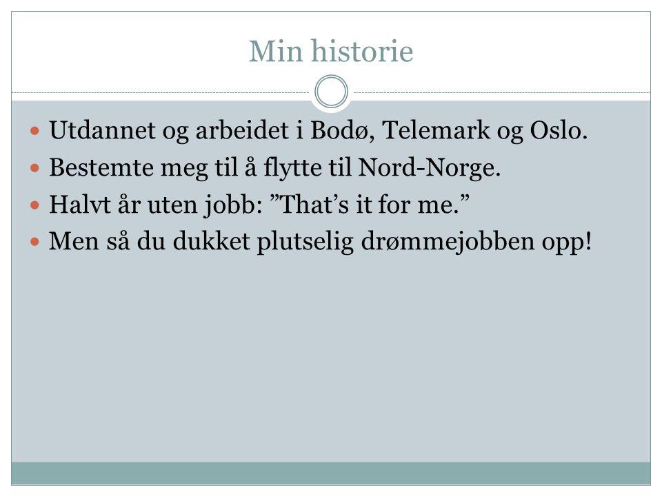 Min historie Utdannet og arbeidet i Bodø, Telemark og Oslo.