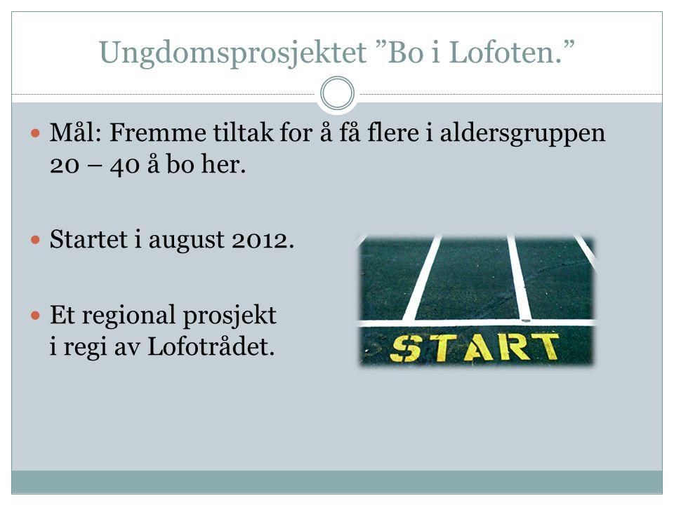 Ungdomsprosjektet Bo i Lofoten. Mål: Fremme tiltak for å få flere i aldersgruppen 20 – 40 å bo her.