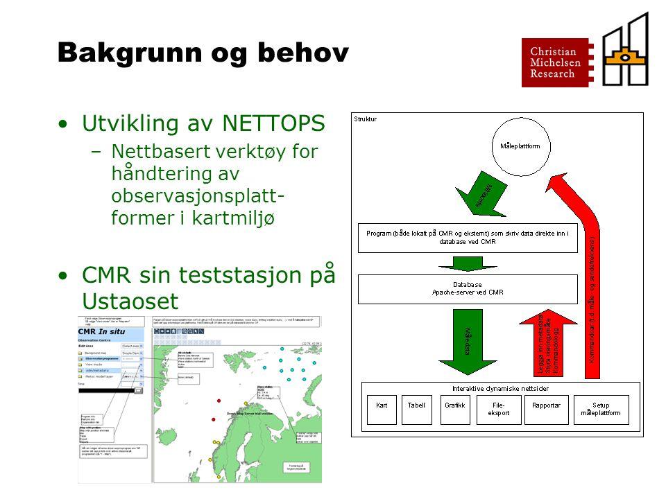 Bakgrunn og behov Utvikling av NETTOPS –Nettbasert verktøy for håndtering av observasjonsplatt- former i kartmiljø CMR sin teststasjon på Ustaoset