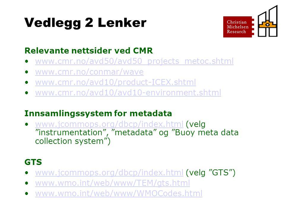 Vedlegg 2 Lenker Relevante nettsider ved CMR www.cmr.no/avd50/avd50_projects_metoc.shtml www.cmr.no/conmar/wave www.cmr.no/avd10/product-ICEX.shtml www.cmr.no/avd10/avd10-environment.shtml Innsamlingssystem for metadata www.jcommops.org/dbcp/index.html (velg instrumentation , metadata og Buoy meta data collection system )www.jcommops.org/dbcp/index.html GTS www.jcommops.org/dbcp/index.html (velg GTS )www.jcommops.org/dbcp/index.html www.wmo.int/web/www/TEM/gts.html www.wmo.int/web/www/WMOCodes.html