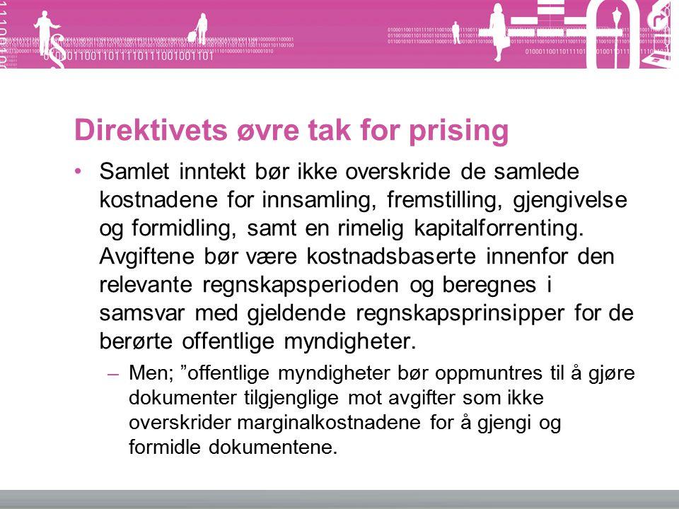 Direktivets øvre tak for prising Samlet inntekt bør ikke overskride de samlede kostnadene for innsamling, fremstilling, gjengivelse og formidling, sam