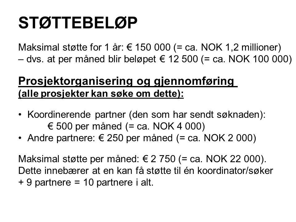 STØTTEBELØP Maksimal støtte for 1 år: € 150 000 (= ca.