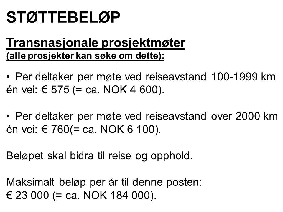 STØTTEBELØP Transnasjonale prosjektmøter (alle prosjekter kan søke om dette): Per deltaker per møte ved reiseavstand 100-1999 km én vei: € 575 (= ca.