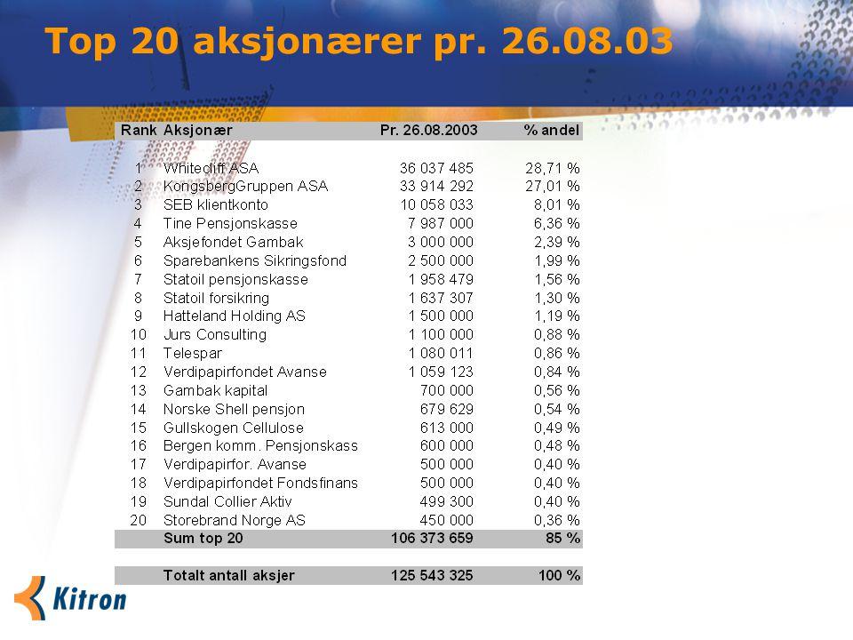 Top 20 aksjonærer pr. 26.08.03