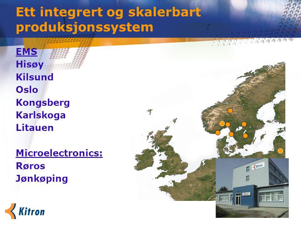 Ett integrert og skalerbart produksjonssystem EMS Hisøy Kilsund Oslo Kongsberg Karlskoga Litauen Microelectronics: Røros Jønkøping