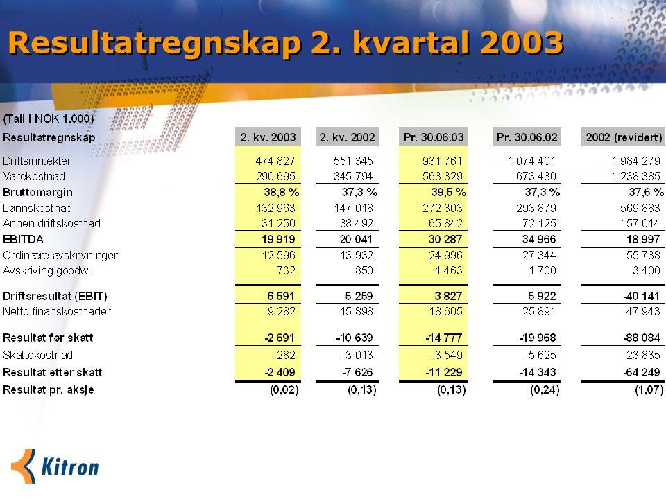 Resultatregnskap 2. kvartal 2003