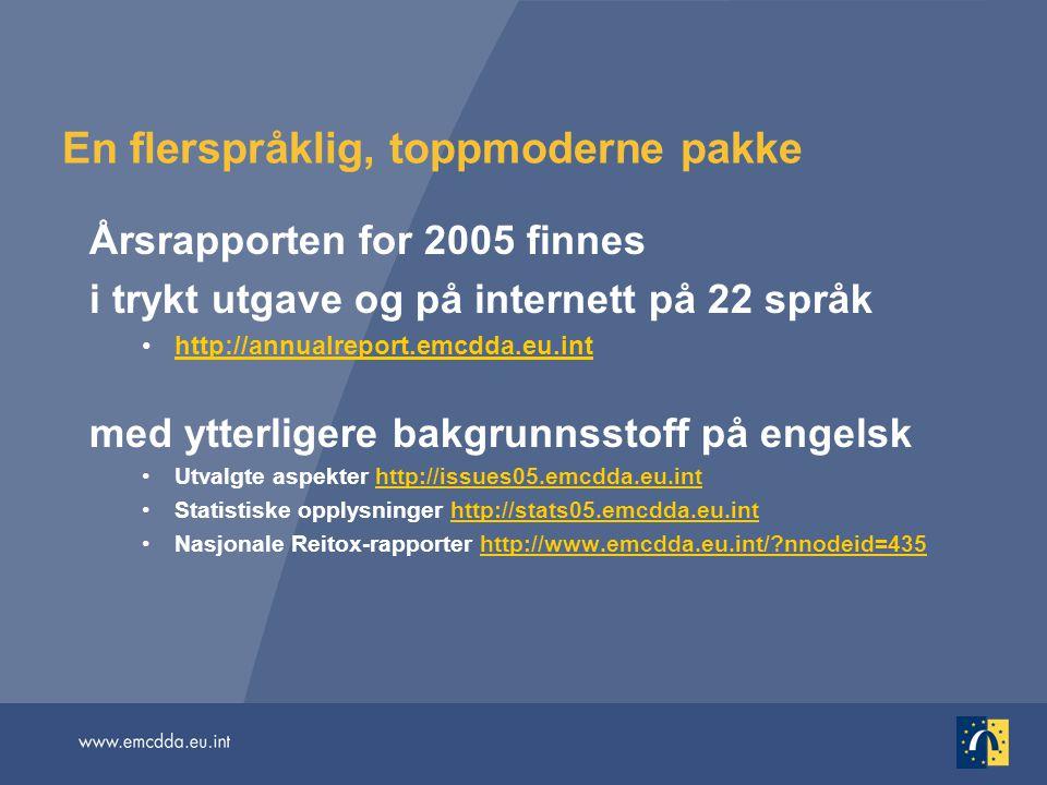 En flerspråklig, toppmoderne pakke Årsrapporten for 2005 finnes i trykt utgave og på internett på 22 språk http://annualreport.emcdda.eu.inthttp://ann