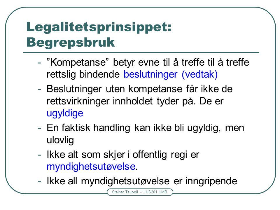 Steinar Taubøll - JUS201 UMB Legalitetsprinsippet: Begrepsbruk - Kompetanse betyr evne til å treffe til å treffe rettslig bindende beslutninger (vedtak) -Beslutninger uten kompetanse får ikke de rettsvirkninger innholdet tyder på.
