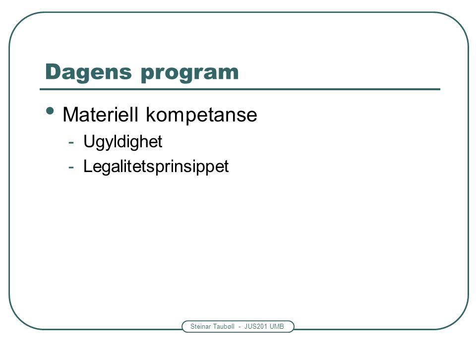 Steinar Taubøll - JUS201 UMB Legalitetsprinsippet som sperre Vedtaket må ha hjemmel i lov Det må være en ubrutt kjede av hjemler fra Stortinget til vedtaket Lov – forskrift – vedtak Hva med uklare lovtekster og skjønn.