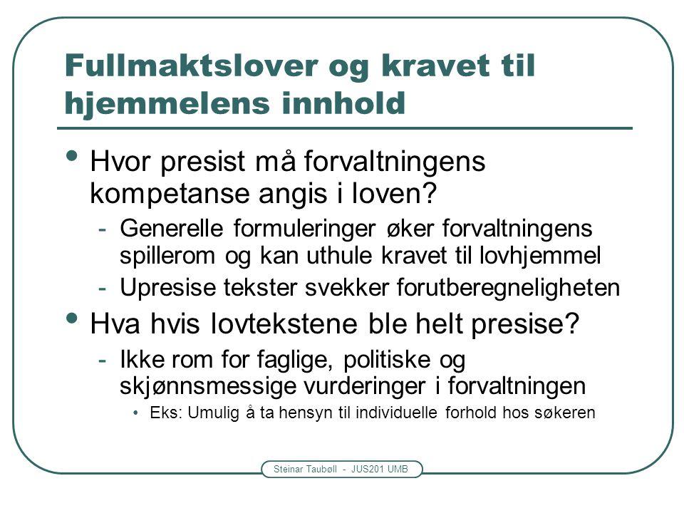 Steinar Taubøll - JUS201 UMB Fullmaktslover og kravet til hjemmelens innhold Hvor presist må forvaltningens kompetanse angis i loven.