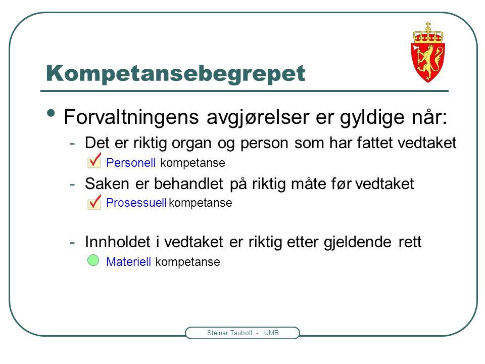 Steinar Taubøll - UMB Kompetansebegrepet Forvaltningens avgjørelser er gyldige når: -Det er riktig organ og person som har fattet vedtaket Personell kompetanse -Saken er behandlet på riktig måte før vedtaket Prosessuell kompetanse -Innholdet i vedtaket er riktig etter gjeldende rett Materiell kompetanse
