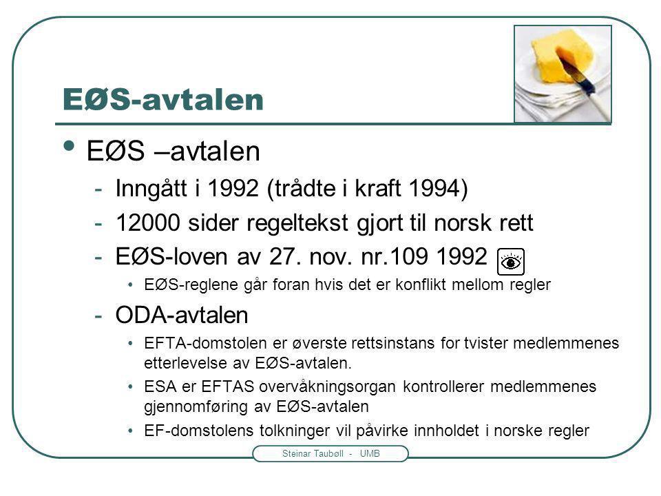 Steinar Taubøll - UMB EØS-avtalen EØS –avtalen -Inngått i 1992 (trådte i kraft 1994) -12000 sider regeltekst gjort til norsk rett -EØS-loven av 27. no