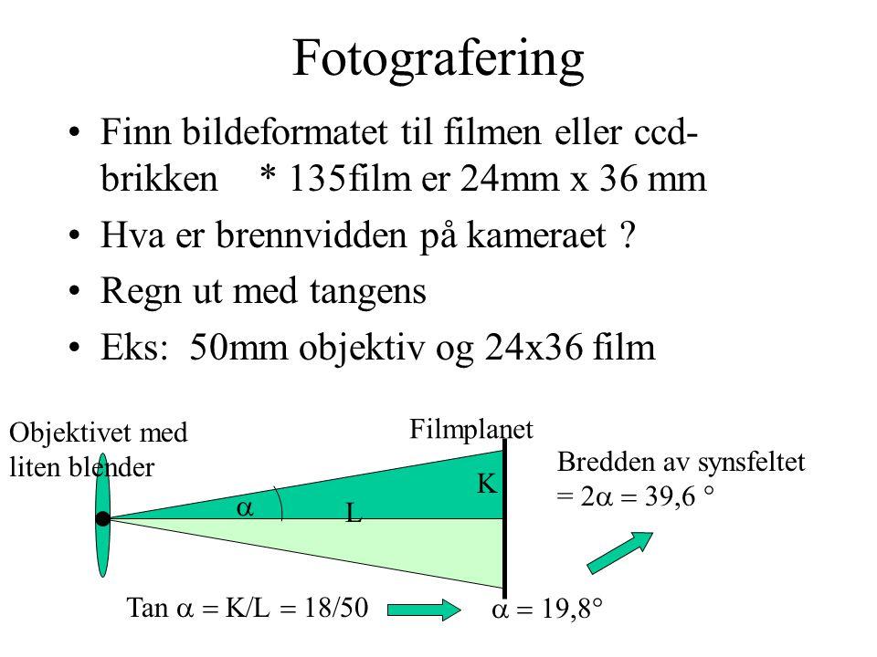 Fotografering Finn bildeformatet til filmen eller ccd- brikken * 135film er 24mm x 36 mm Hva er brennvidden på kameraet ? Regn ut med tangens Eks: 50m