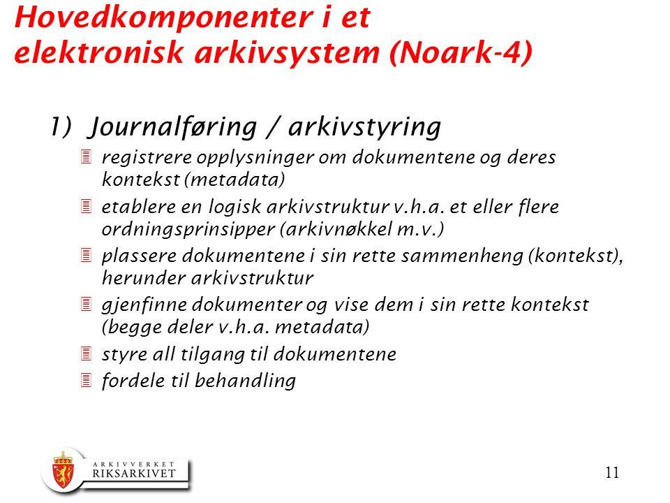 11 Hovedkomponenter i et elektronisk arkivsystem (Noark-4) 1) Journalføring / arkivstyring 3registrere opplysninger om dokumentene og deres kontekst (metadata) 3etablere en logisk arkivstruktur v.h.a.