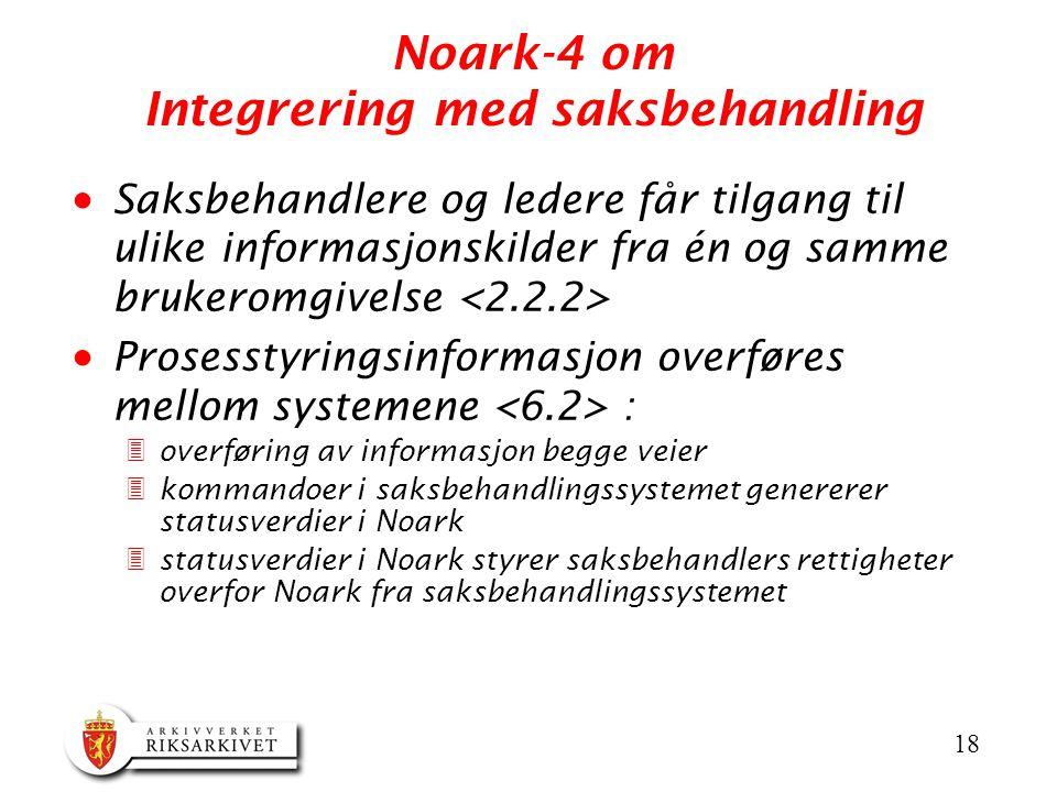 18 Noark-4 om Integrering med saksbehandling  Saksbehandlere og ledere får tilgang til ulike informasjonskilder fra én og samme brukeromgivelse  Pro