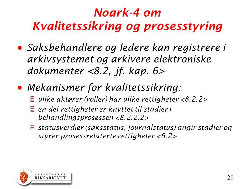 20 Noark-4 om Kvalitetssikring og prosesstyring  Saksbehandlere og ledere kan registrere i arkivsystemet og arkivere elektroniske dokumenter  Mekani