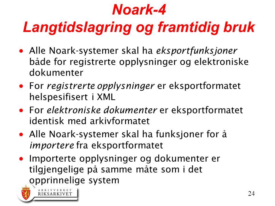24 Noark-4 Langtidslagring og framtidig bruk  Alle Noark-systemer skal ha eksportfunksjoner både for registrerte opplysninger og elektroniske dokumen
