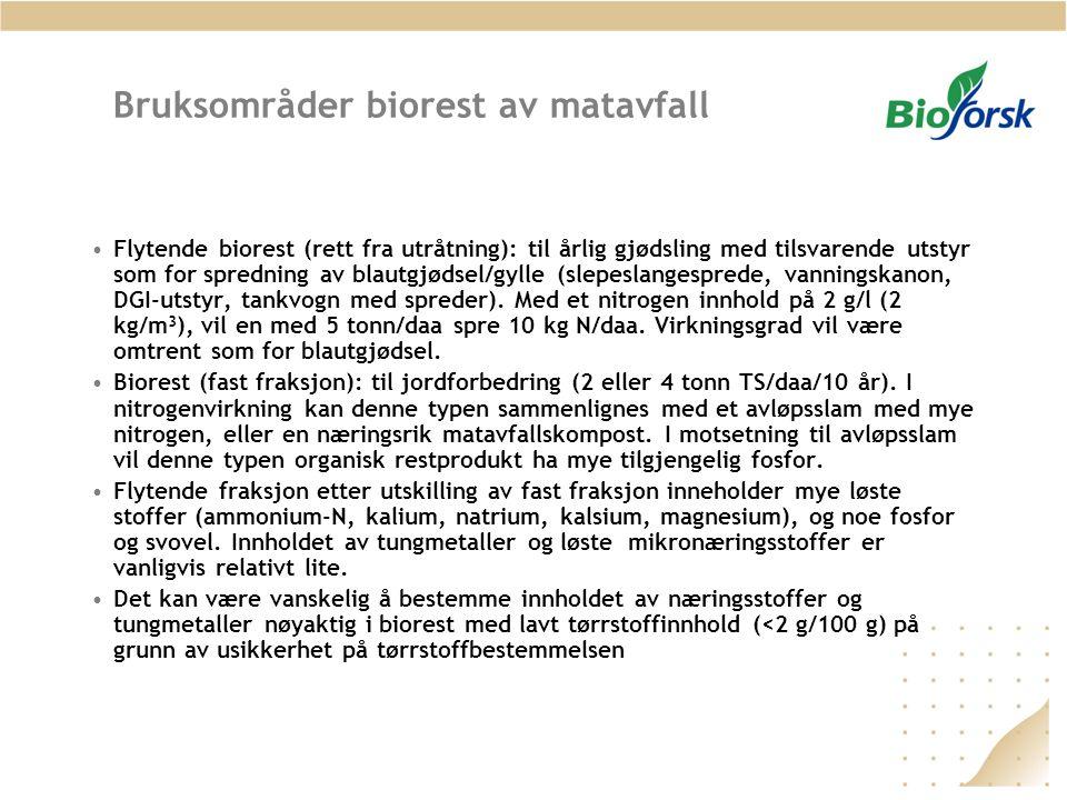 Bruksområder biorest av matavfall Flytende biorest (rett fra utråtning): til årlig gjødsling med tilsvarende utstyr som for spredning av blautgjødsel/