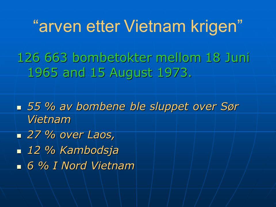 arven etter Vietnam krigen 126 663 bombetokter mellom 18 Juni 1965 and 15 August 1973.