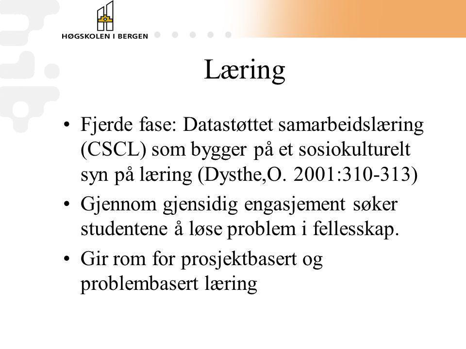 Læring Fjerde fase: Datastøttet samarbeidslæring (CSCL) som bygger på et sosiokulturelt syn på læring (Dysthe,O. 2001:310-313) Gjennom gjensidig engas