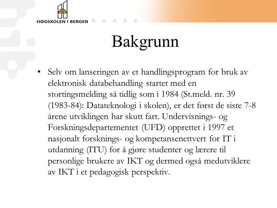 Bakgrunn Selv om lanseringen av et handlingsprogram for bruk av elektronisk databehandling startet med en stortingsmelding så tidlig som i 1984 (St.me