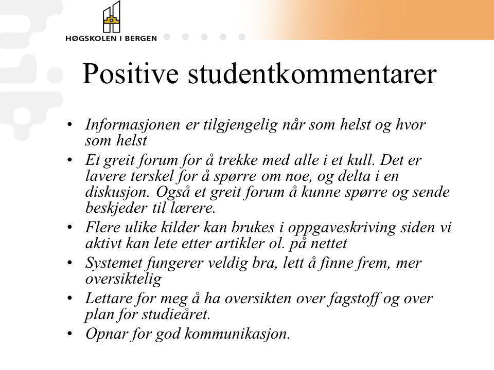 Positive studentkommentarer Informasjonen er tilgjengelig når som helst og hvor som helst Et greit forum for å trekke med alle i et kull. Det er laver
