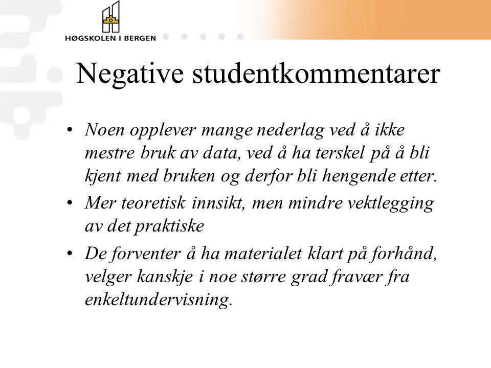 Negative studentkommentarer Noen opplever mange nederlag ved å ikke mestre bruk av data, ved å ha terskel på å bli kjent med bruken og derfor bli heng