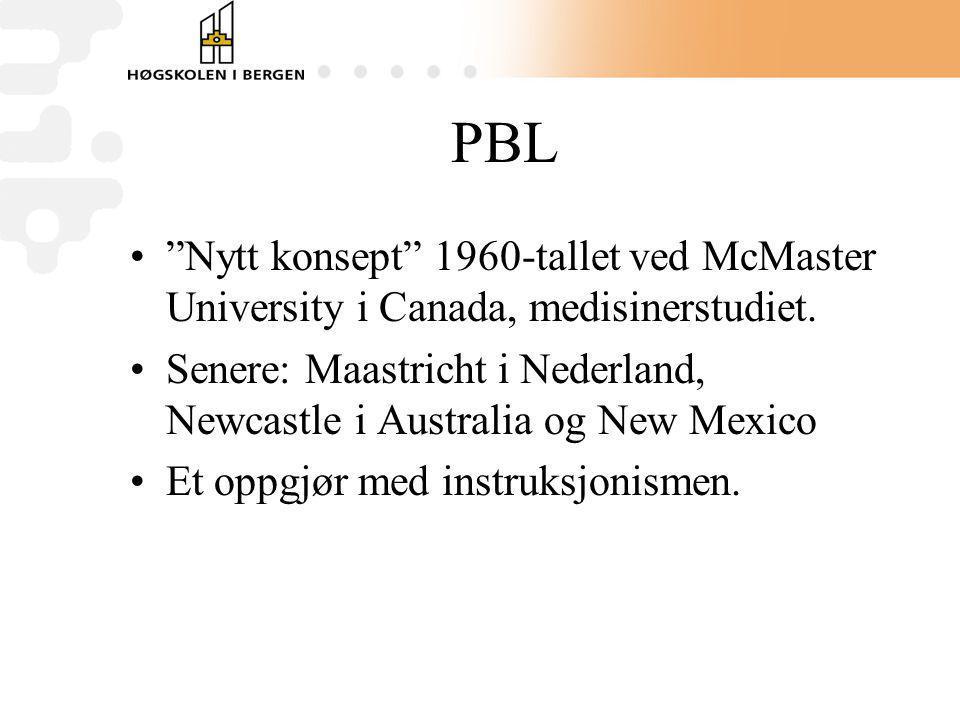 """PBL """"Nytt konsept"""" 1960-tallet ved McMaster University i Canada, medisinerstudiet. Senere: Maastricht i Nederland, Newcastle i Australia og New Mexico"""