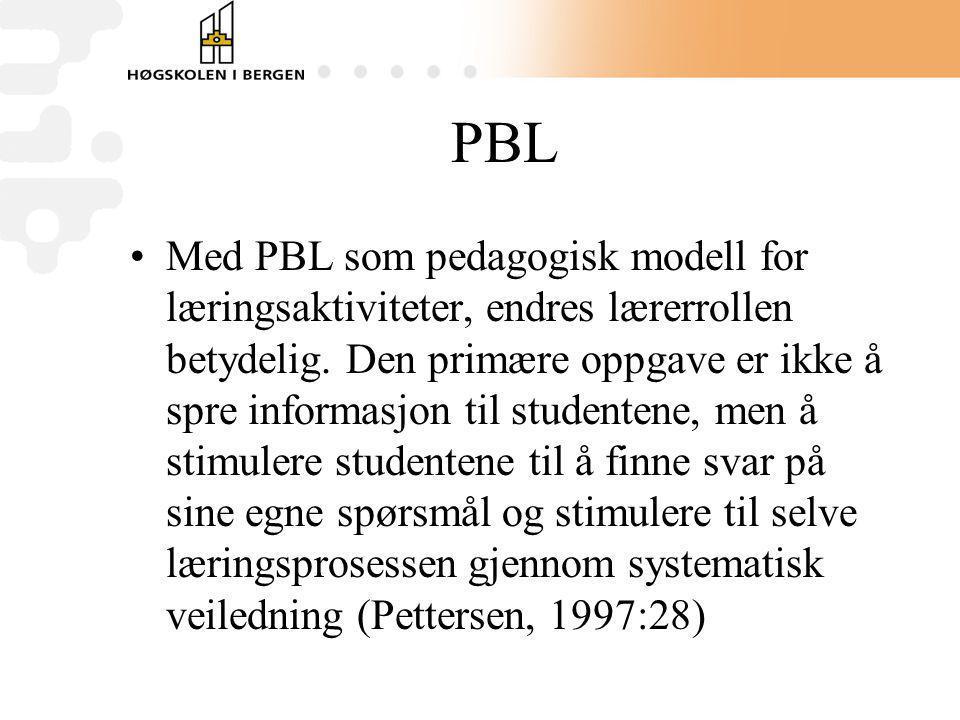 PBL Med PBL som pedagogisk modell for læringsaktiviteter, endres lærerrollen betydelig. Den primære oppgave er ikke å spre informasjon til studentene,