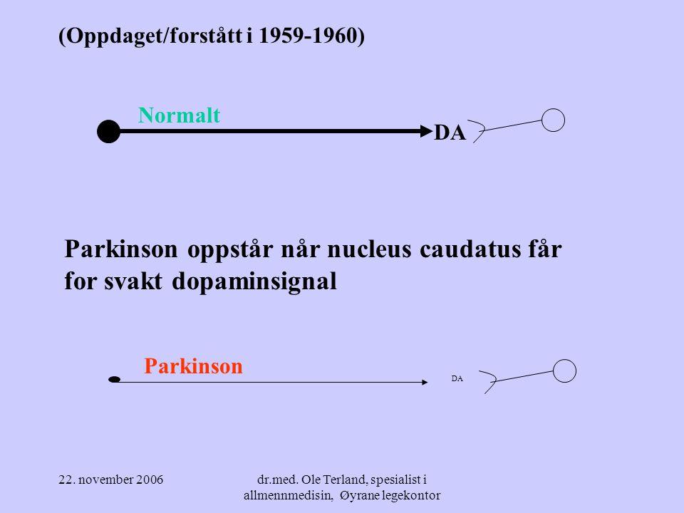 22. november 2006dr.med. Ole Terland, spesialist i allmennmedisin, Øyrane legekontor Kontroll av viljestyrte, frivillige bevegelser (sterkt forenklet)