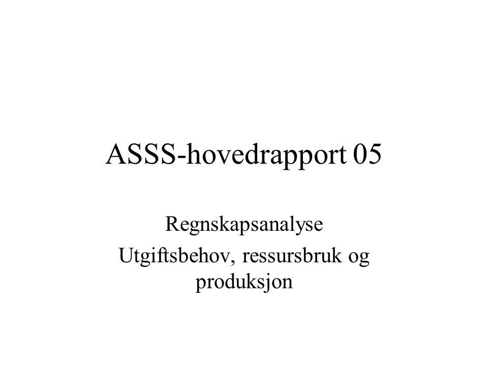 ASSS-hovedrapport 05 Regnskapsanalyse Utgiftsbehov, ressursbruk og produksjon