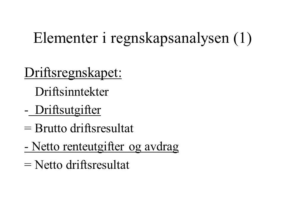 Elementer i regnskapsanalysen (1) Driftsregnskapet: Driftsinntekter -Driftsutgifter = Brutto driftsresultat - Netto renteutgifter og avdrag = Netto dr