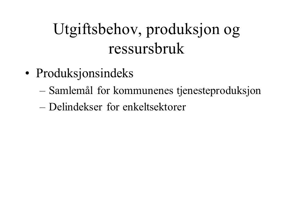 Utgiftsbehov, produksjon og ressursbruk Produksjonsindeks –Samlemål for kommunenes tjenesteproduksjon –Delindekser for enkeltsektorer