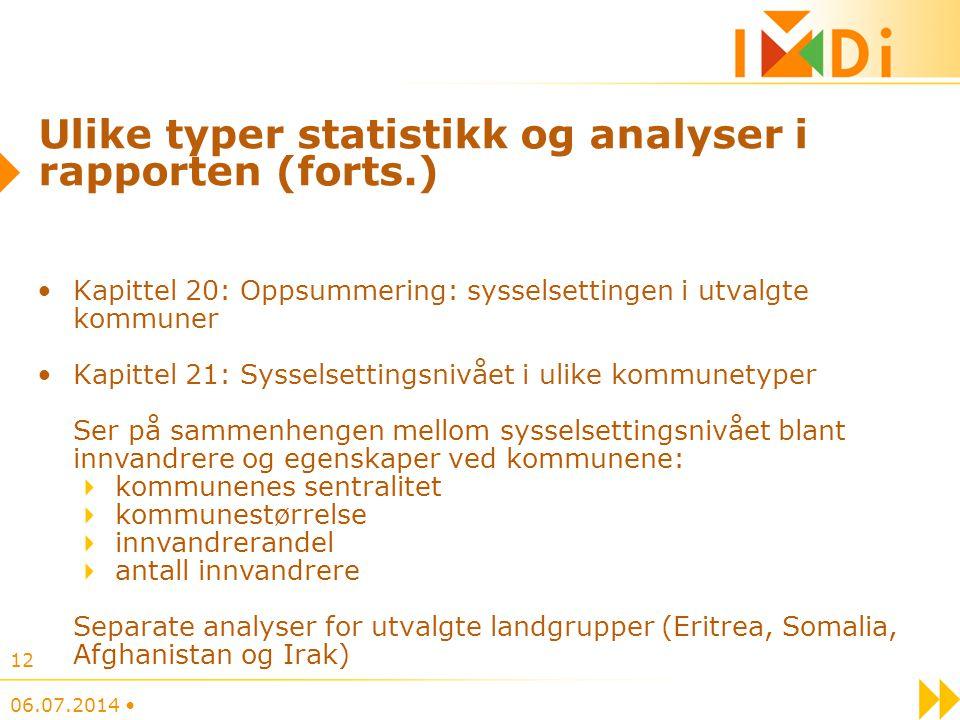 Ulike typer statistikk og analyser i rapporten (forts.) Kapittel 20: Oppsummering: sysselsettingen i utvalgte kommuner Kapittel 21: Sysselsettingsnivå