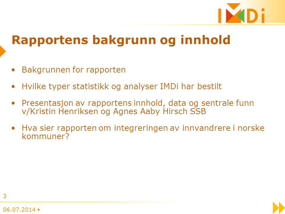 Rapportens bakgrunn og innhold Bakgrunnen for rapporten Hvilke typer statistikk og analyser IMDi har bestilt Presentasjon av rapportens innhold, data